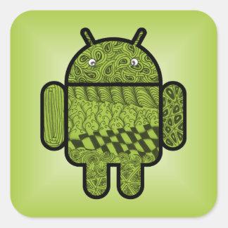 Carácter de Paisley para el robot de Android™ Calcomanías Cuadradas