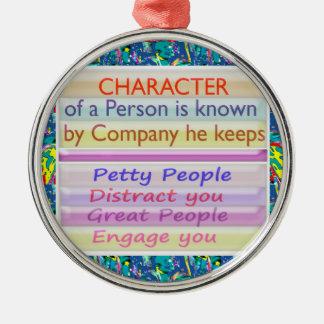 Carácter de una persona… adorno redondo plateado