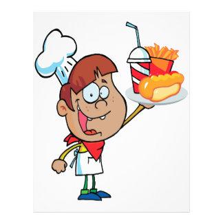 carácter del camarero de los alimentos de preparac flyer a todo color
