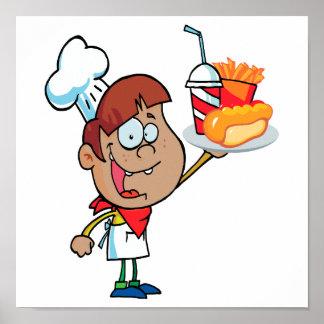 carácter del camarero de los alimentos de preparac póster