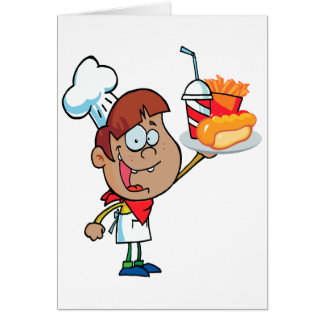 carácter del camarero de los alimentos de preparac felicitaciones