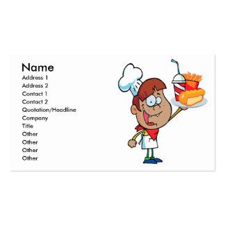 carácter del camarero de los alimentos de tarjetas de visita