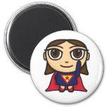 Carácter del chica del superhéroe iman de frigorífico