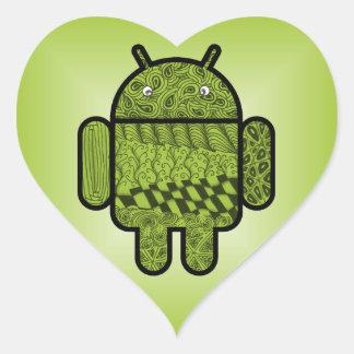 Carácter del Doodle de Paisley para Android™ Pegatina De Corazon
