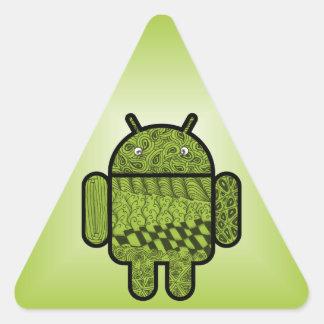 Carácter del Doodle de Paisley para Android™ Pegatina Triangulo