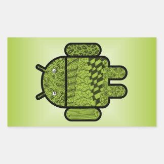 Carácter del Doodle de Paisley para Android™ Rectangular Pegatinas