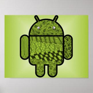 Carácter del Doodle de Paisley para Android™ Póster