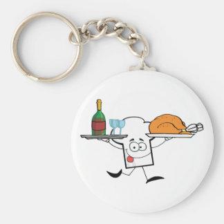 Carácter del gorra de los cocineros que corre con  llavero redondo tipo pin