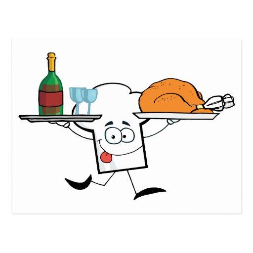 Carácter del gorra de los cocineros que corre con postales