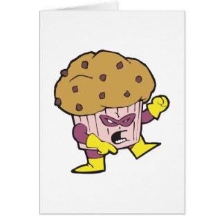carácter del hombre de mollete del super héroe tarjeta de felicitación