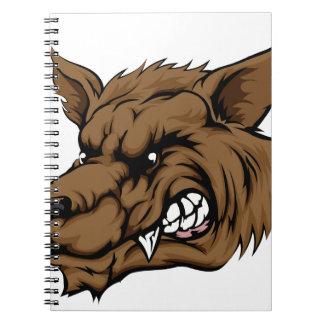 Carácter del lobo o del hombre lobo spiral notebooks