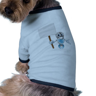 Carácter del micrófono con la muestra camisa de perro