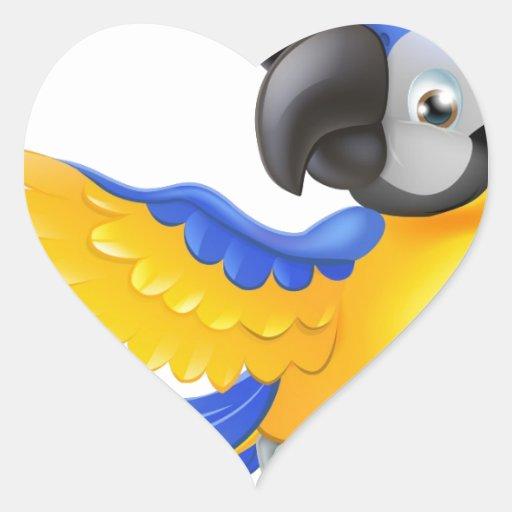 Carácter del pirata del loro pegatina corazon personalizadas