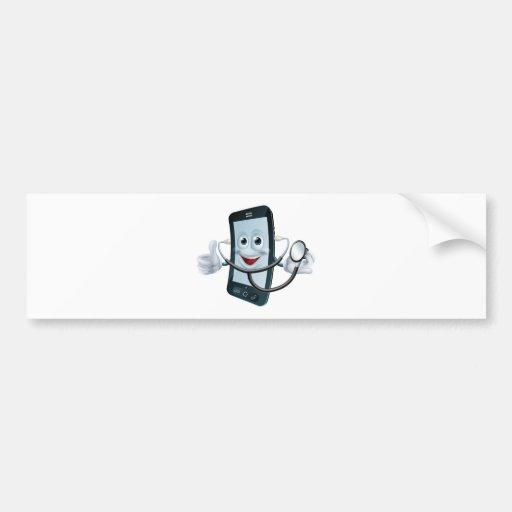 Carácter del teléfono del dibujo animado que sosti pegatina de parachoque