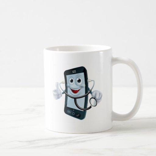 Carácter del teléfono del dibujo animado que sosti taza