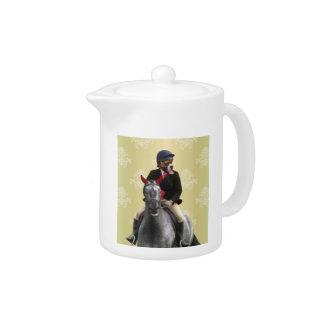 Carácter divertido del jinete del caballo