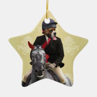 Carácter divertido del jinete del caballo adorno navideño de cerámica en forma de estrella