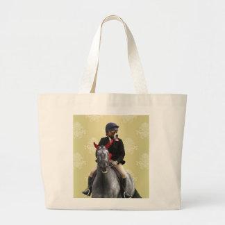 Carácter divertido del jinete del caballo bolsa tela grande