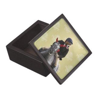 Carácter divertido del jinete del caballo caja de recuerdo de calidad
