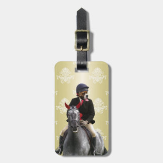 Carácter divertido del jinete del caballo etiquetas maletas