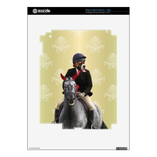 Carácter divertido del jinete del caballo iPad 2 calcomanía