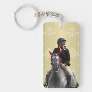 Carácter divertido del jinete del caballo llavero rectangular acrílico a doble cara