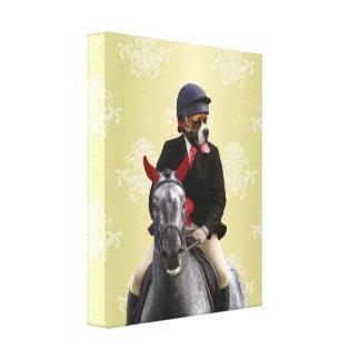 Carácter divertido del jinete del caballo lona estirada galerias