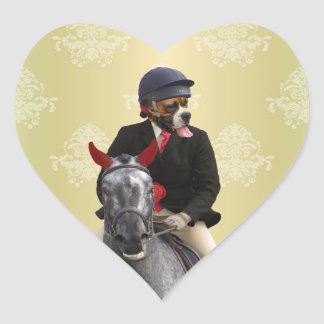 Carácter divertido del jinete del caballo pegatina en forma de corazón