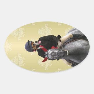 Carácter divertido del jinete del caballo pegatina ovalada