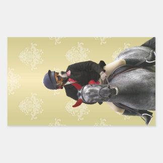 Carácter divertido del jinete del caballo pegatina rectangular