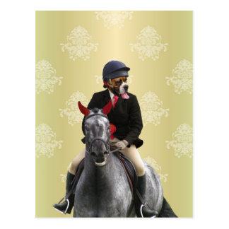 Carácter divertido del jinete del caballo postal