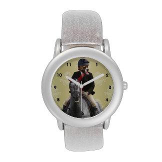 Carácter divertido del jinete del caballo relojes de pulsera