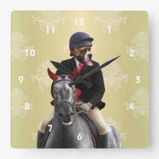 Carácter divertido del jinete del caballo reloj cuadrado