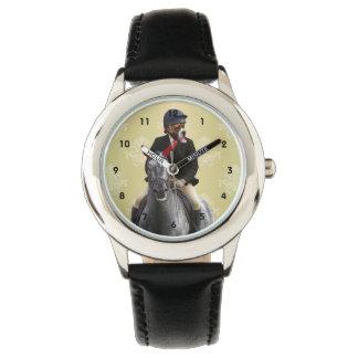Carácter divertido del jinete del caballo reloj de mano
