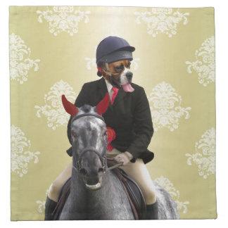 Carácter divertido del jinete del caballo servilletas imprimidas