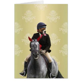 Carácter divertido del jinete del caballo tarjeta de felicitación