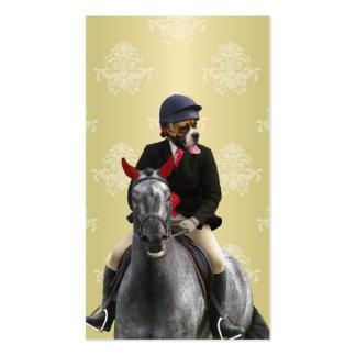 Carácter divertido del jinete del caballo tarjetas de visita