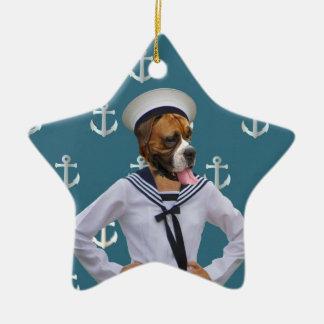 Carácter divertido del perro del marinero adorno navideño de cerámica en forma de estrella