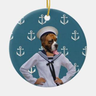 Carácter divertido del perro del marinero ornamento para arbol de navidad