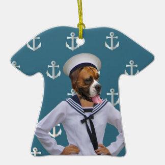 Carácter divertido del perro del marinero adornos