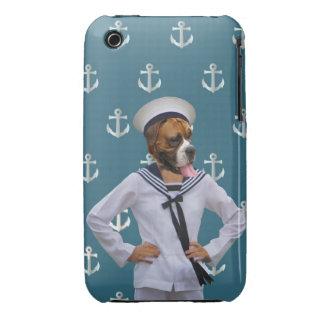 Carácter divertido del perro del marinero iPhone 3 fundas