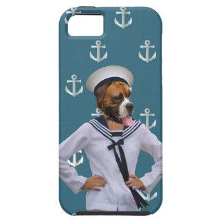 Carácter divertido del perro del marinero iPhone 5 protectores