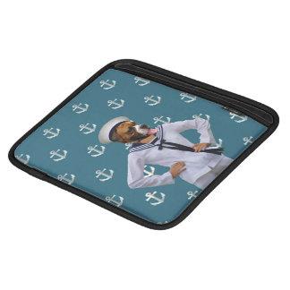 Carácter divertido del perro del marinero mangas de iPad