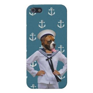 Carácter divertido del perro del marinero iPhone 5 carcasas