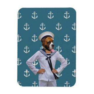 Carácter divertido del perro del marinero iman flexible