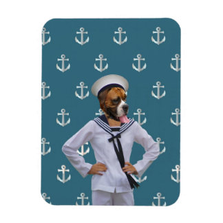 Carácter divertido del perro del marinero imanes de vinilo