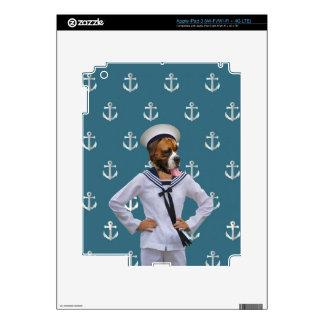 Carácter divertido del perro del marinero iPad 3 skins