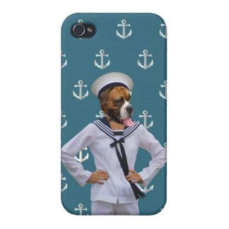 Carácter divertido del perro del marinero iPhone 4 carcasa