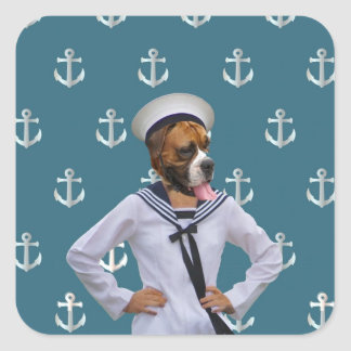 Carácter divertido del perro del marinero pegatina