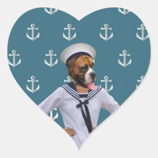 Carácter divertido del perro del marinero calcomanías de corazones personalizadas
